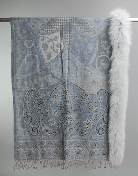 Embroidered Wrap with Fox Trim- Light Blue