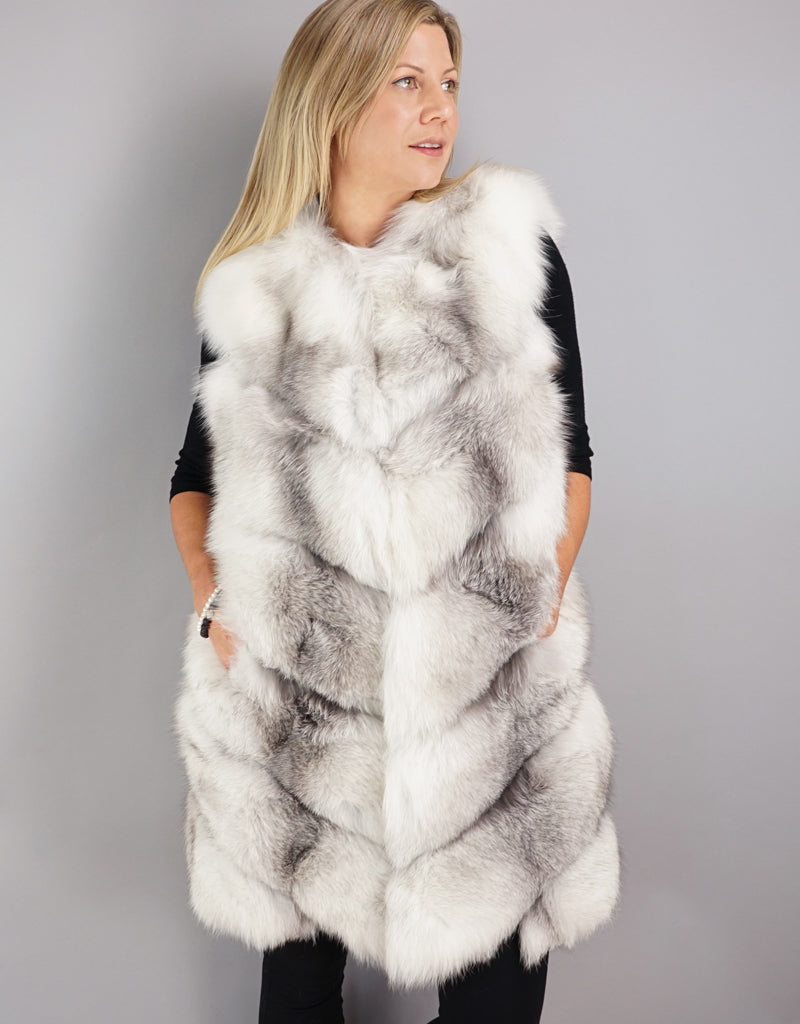 Chevron Detail Long Fox Vest - Natural Blue