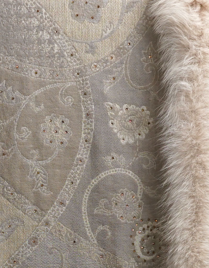 Embroidered Wrap with Fox Trim- Beige