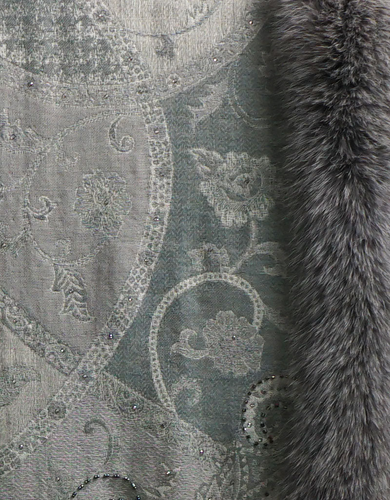 Embroidered Wrap with Fox Trim- Grey