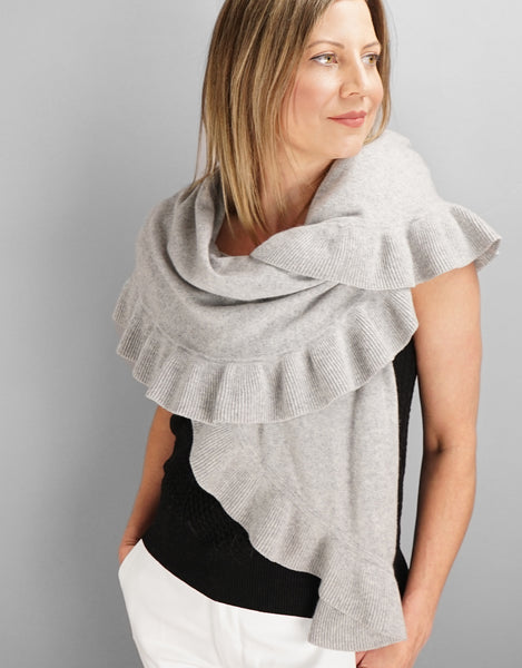 Beautiful Cashmere Ruffle Shawl- Light Grey