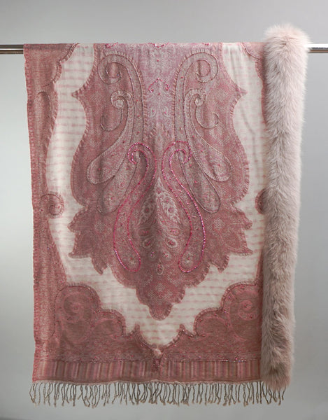 Embroidered Wrap with Fox Trim- Light Pink