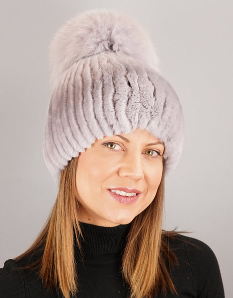 Oversize Pom Pom Stretch Rex Hat - Light Grey