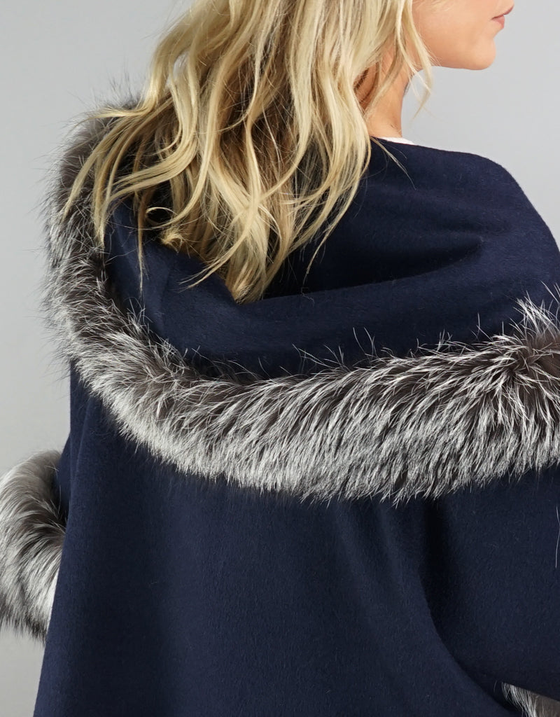 Dramatic Belted Alpaca Cape/ Jacket- Navy Silver
