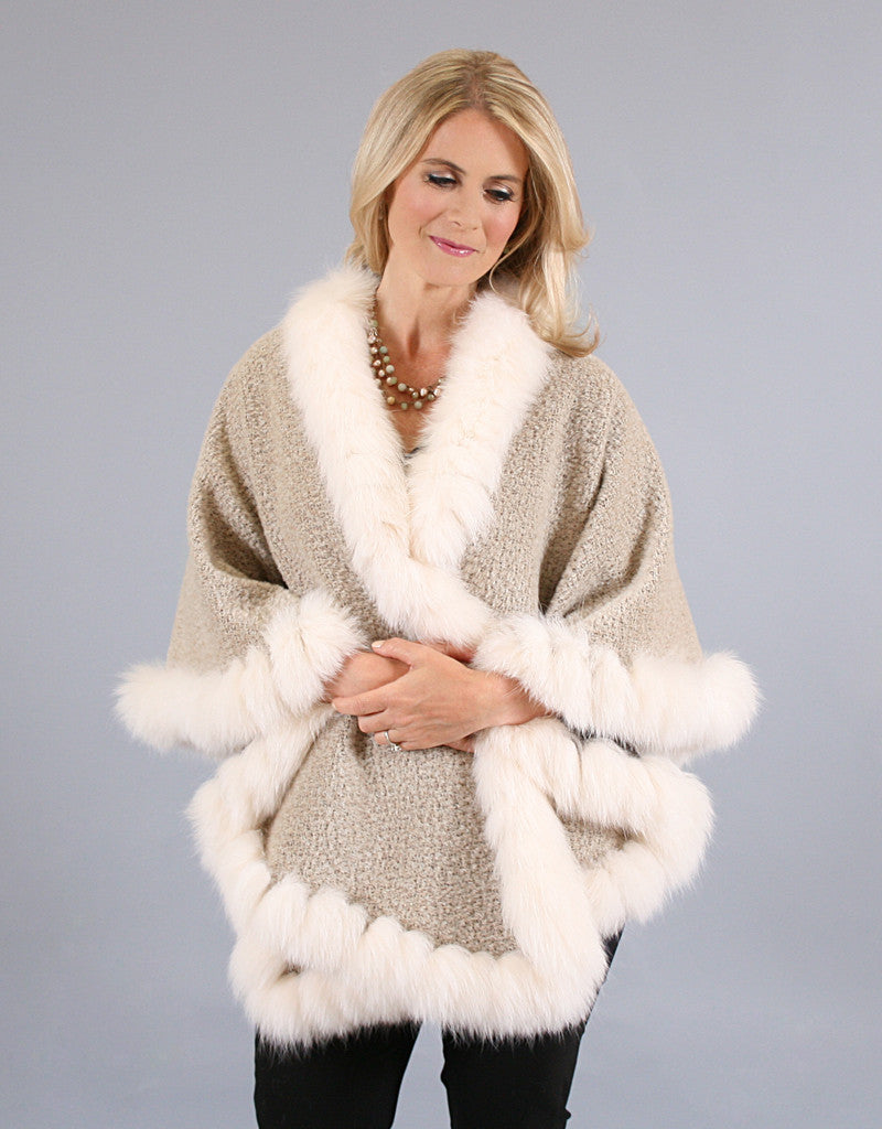 Fur Whip Alpaca Cape-Brown/ Fisher Dyed Silver Fox