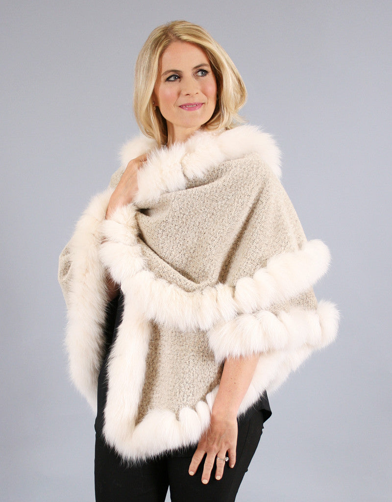 Fur Whip Alpaca Cape-Melange/ Camel Fox