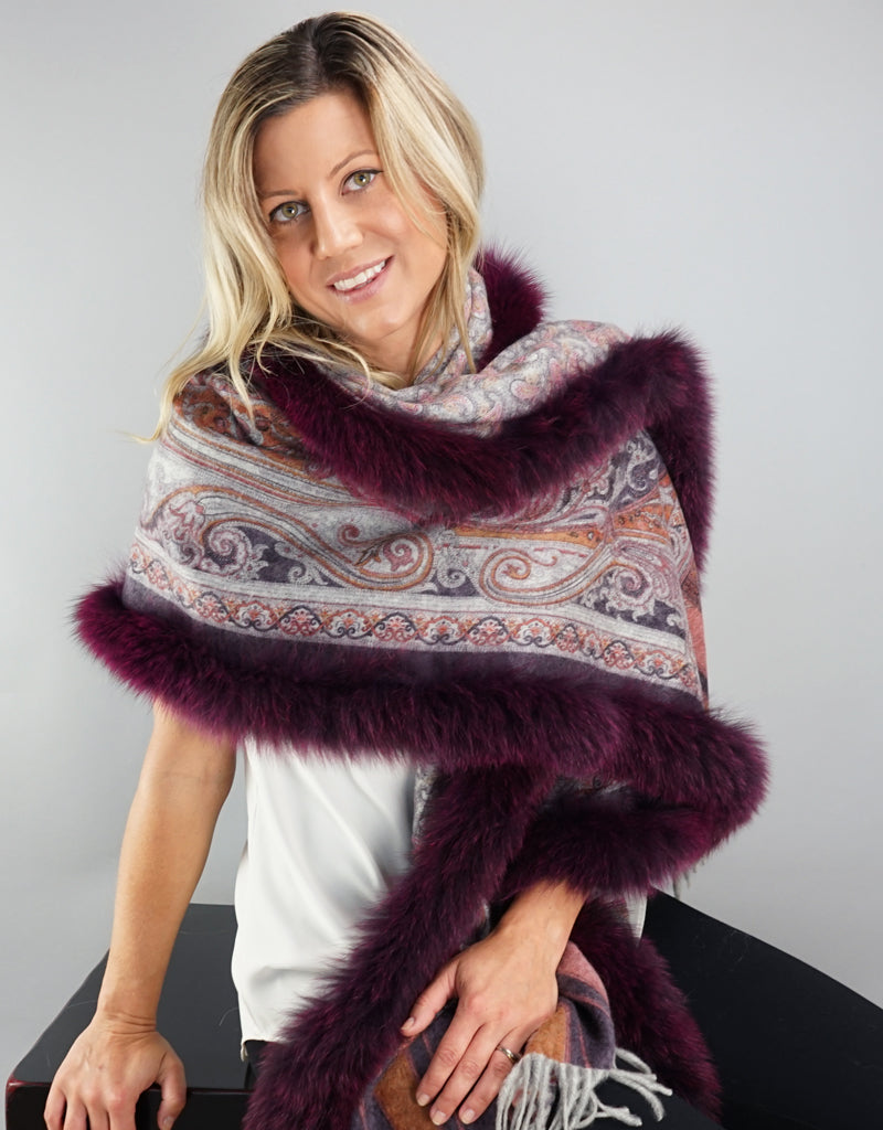 Printed Cashmere Shawl- Mulberry Scroll