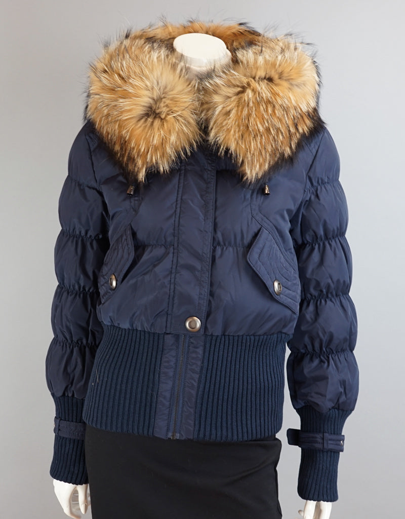 Aviator Jacket With Knit Details-Navy Natural
