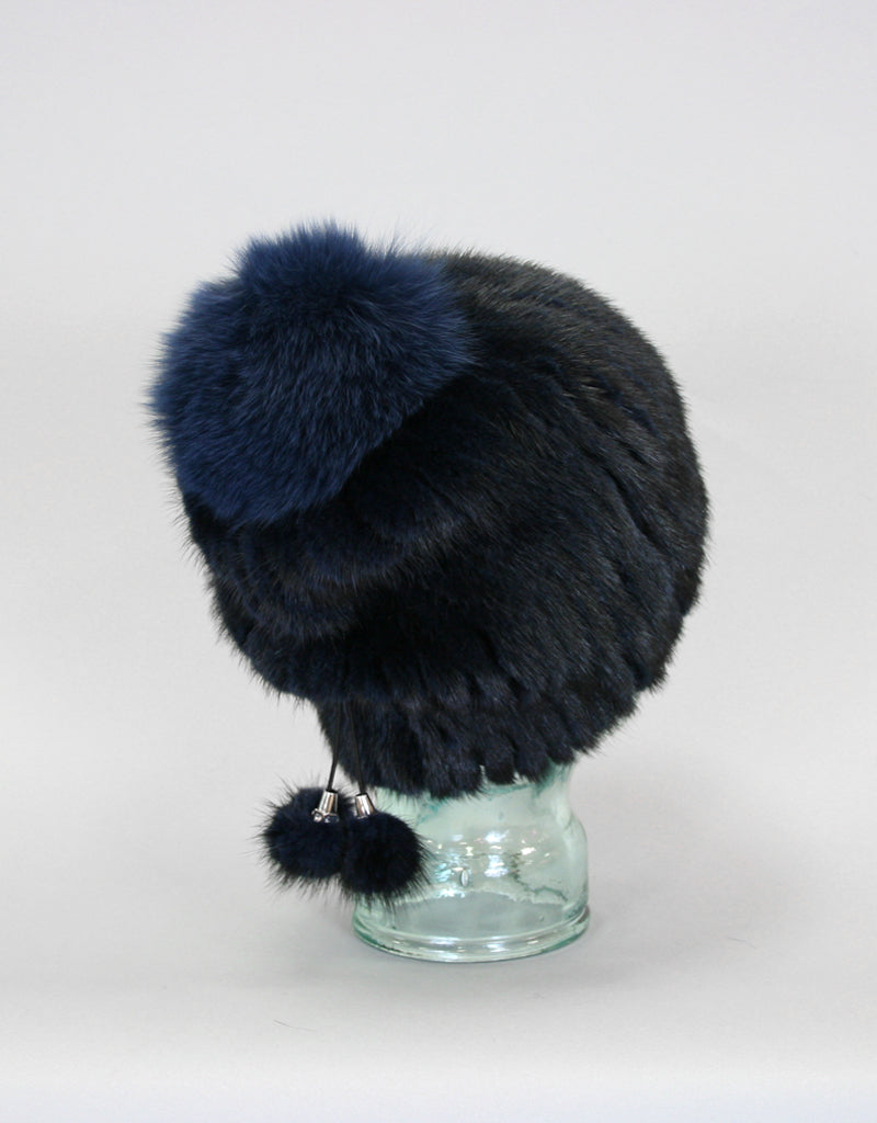 Draw Back Knit Mink Hat-Navy