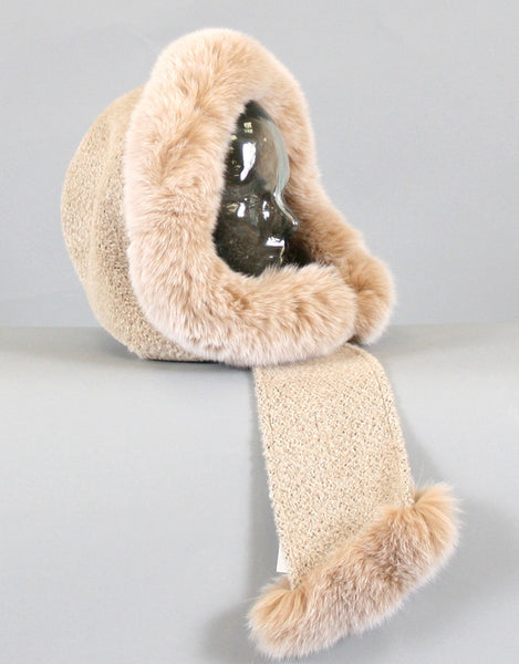 Hood with Fur Trim- Beige Dyed Lynx