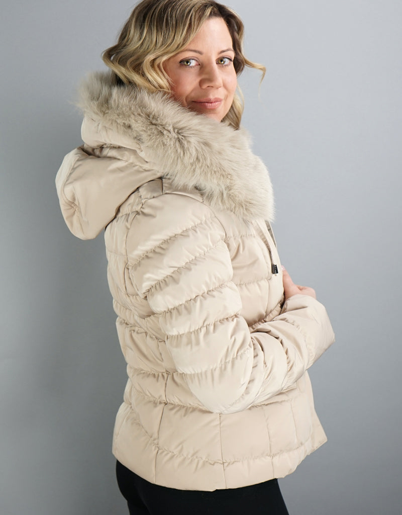 Down Filled Fitted Jacket-Beige