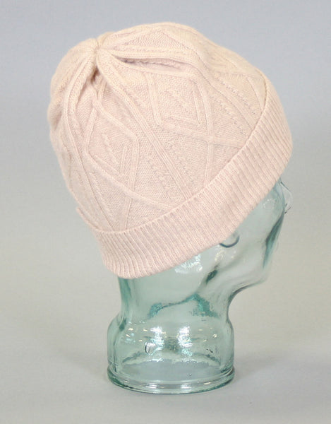 Cashmere Cross Cable Hat-Oatmeal