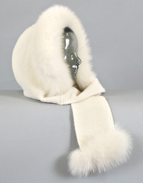 Hood with Fur Trim- Off White