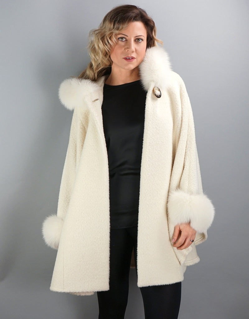 Hooded One Button Cape- Ivory