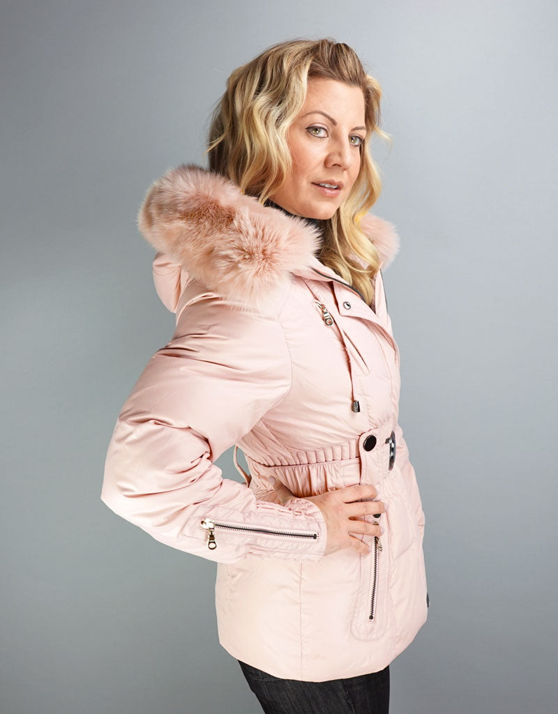 Belted Sporty Jacket- Baby Pink