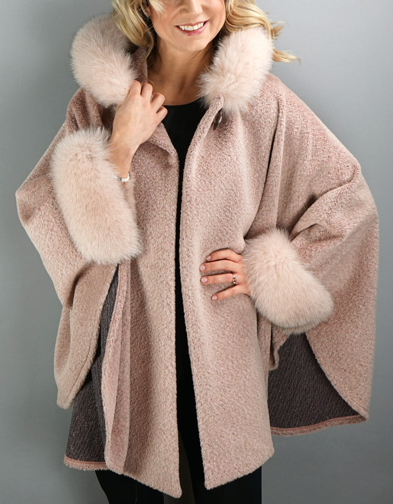 Hooded One Button Cape- Pink