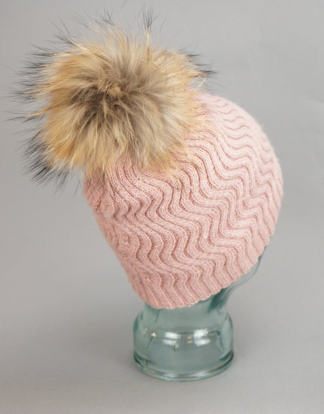 Knit Wave Pattern Pom Pom Hat-Pink Natural
