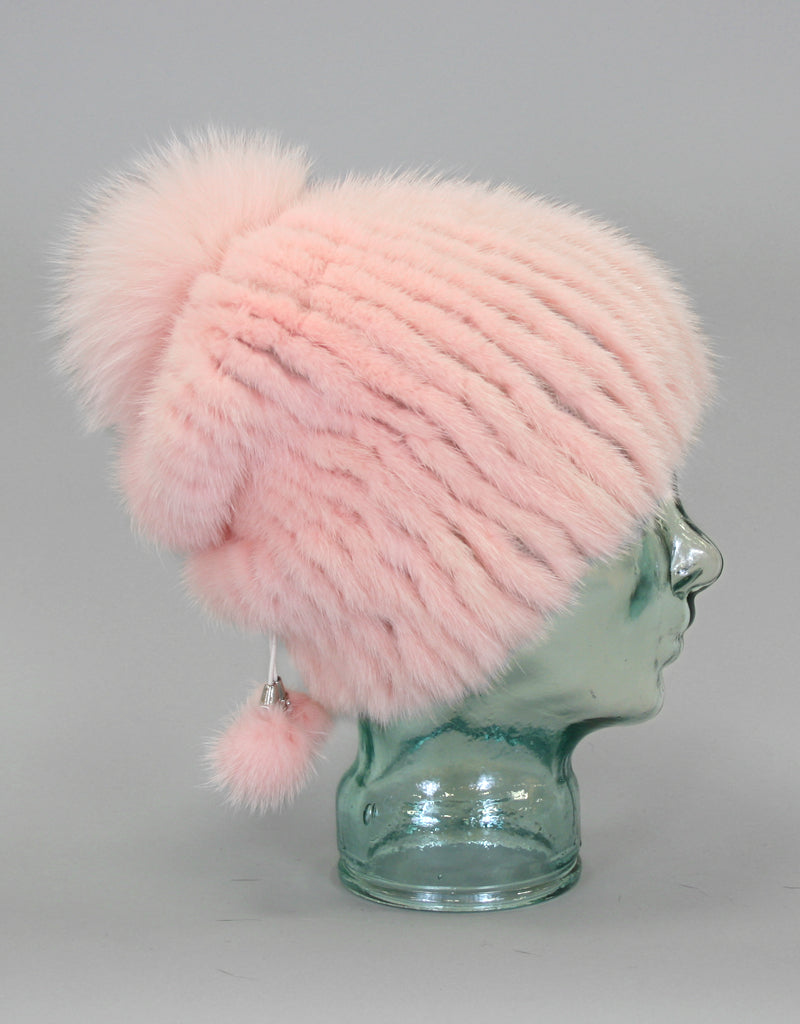 Draw Back Knit Mink Hat-Saphire