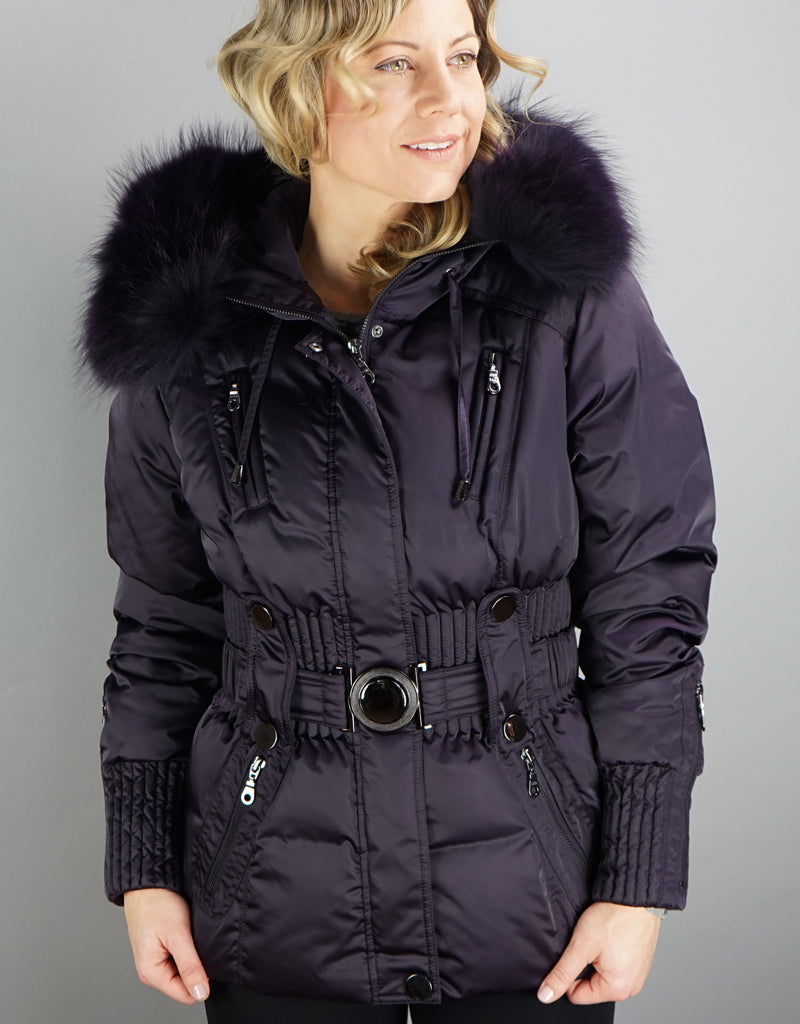 Belted Sporty Jacket-Dark Purple