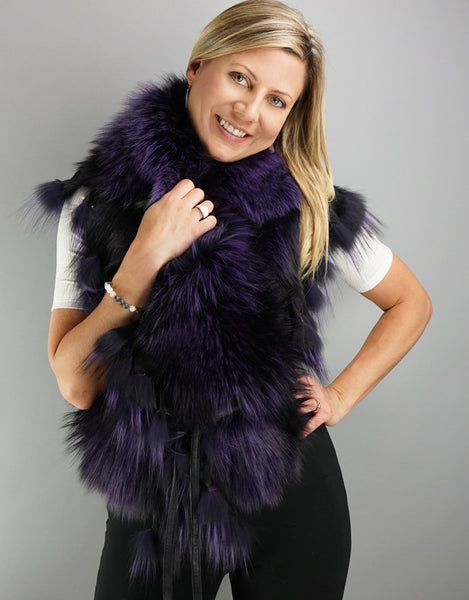 Belted Fringe Collar- Purple