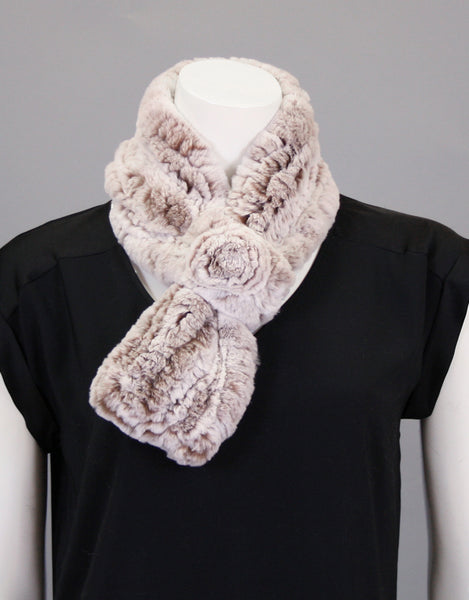 Stretch Rosette Scarf-Putty