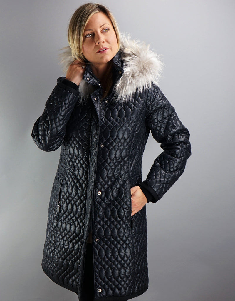 Light Carcoat with Quilt Detail- Black