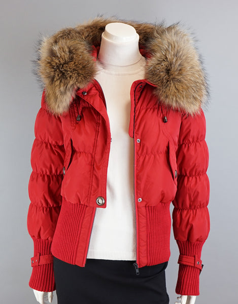 Aviator Jacket With Knit Details-Red Natural