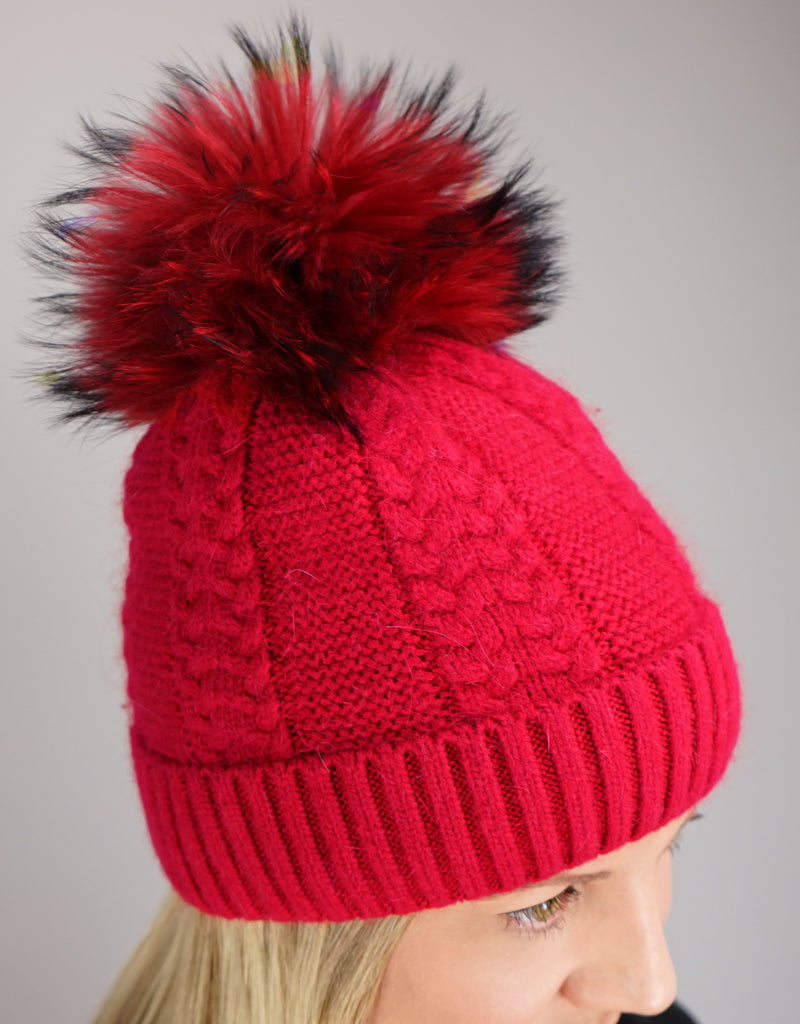 Cable Cuff Hat with Pom Pom - Red
