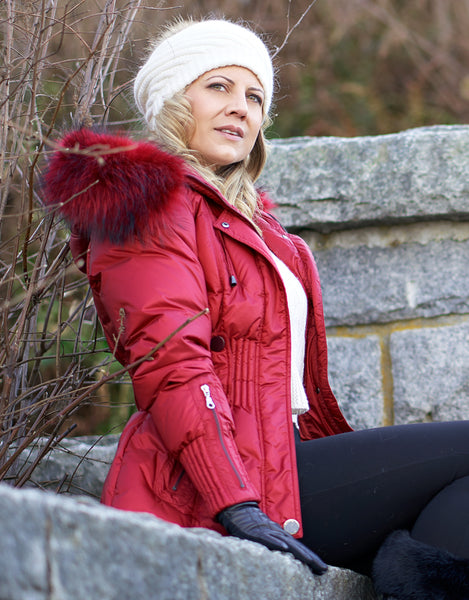 Belted Sporty Jacket-Garnet Red
