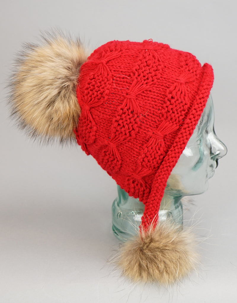 Tri Pom Knit Hat-New Red