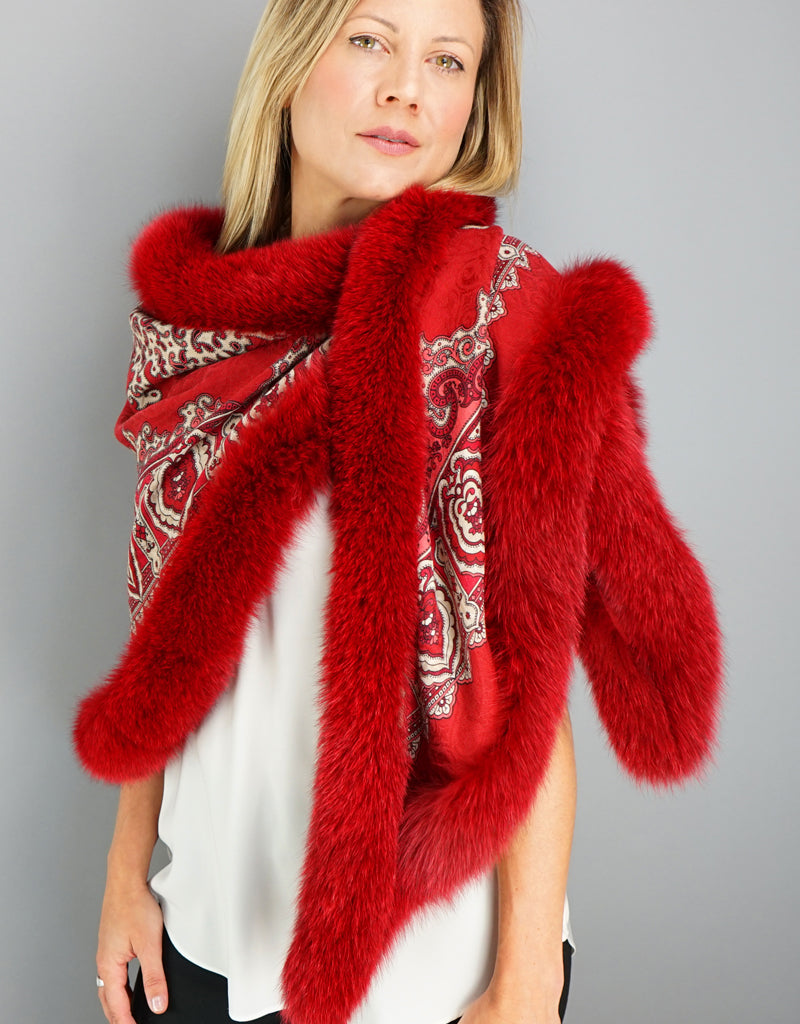 Baroque Shawl- Red