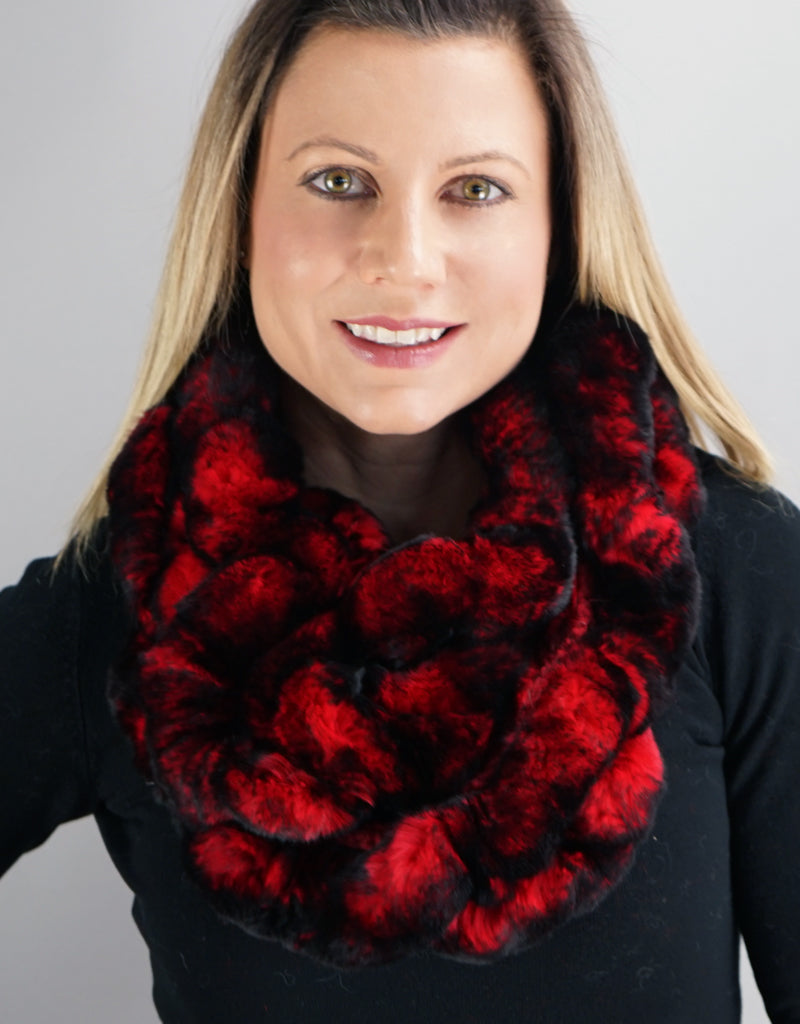 Ruffle Infinity Scarf- Red Black