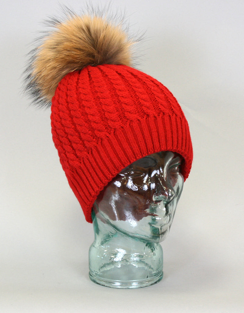 Cable Knit Hat with Fur Pom Pom - Black