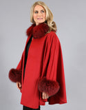 Cashmere Mandarin Collar Cape- Red