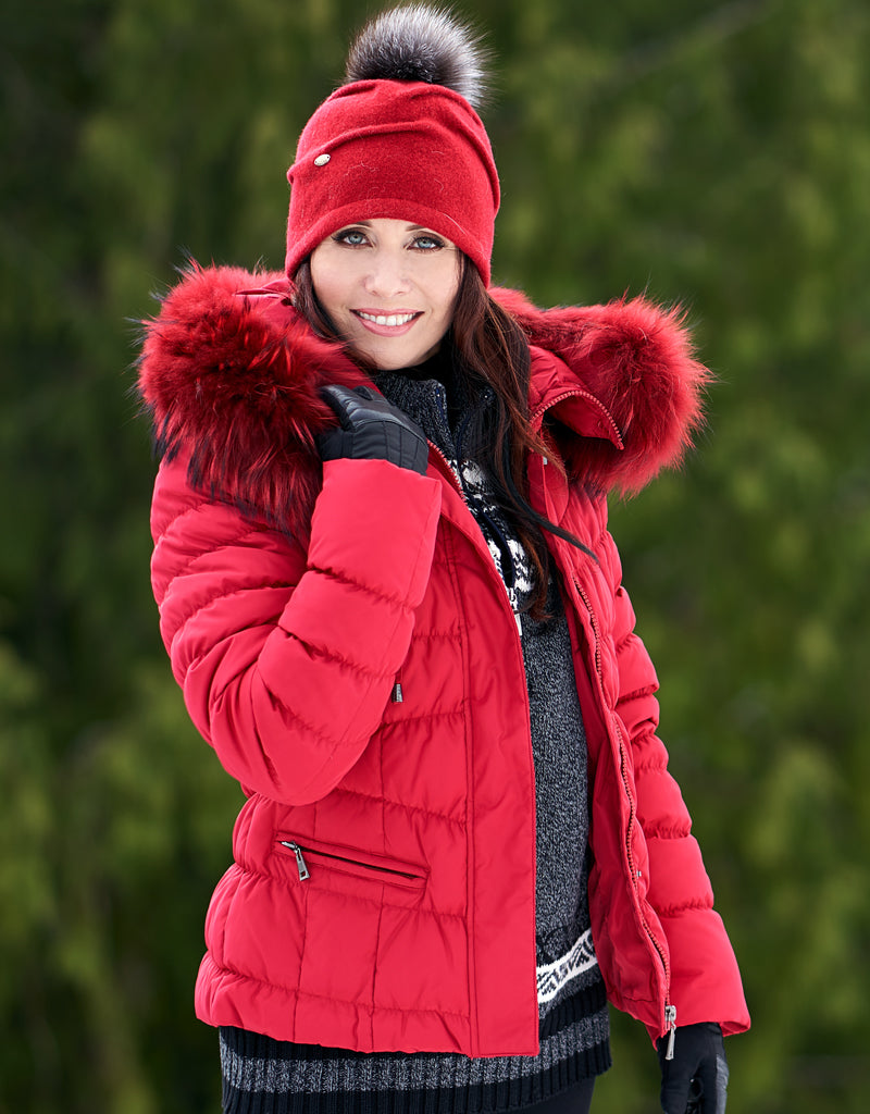 Down Filled Fitted Jacket-Red