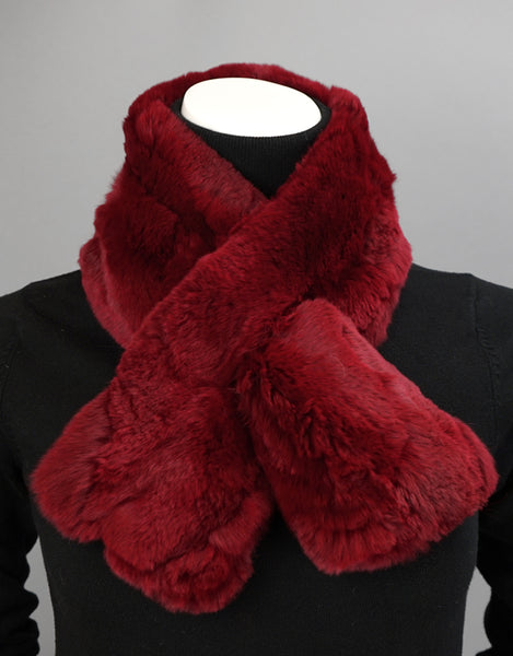 Soft Draw Rex Rabbit Scarf-Red