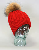 Cable Knit Hat with Fur Pom Pom - Red