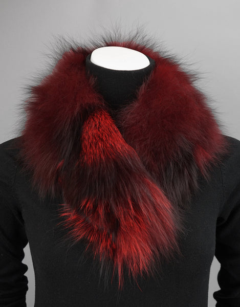 Small Shawl Collar with Magnetic Closure-Red Dyed Silver