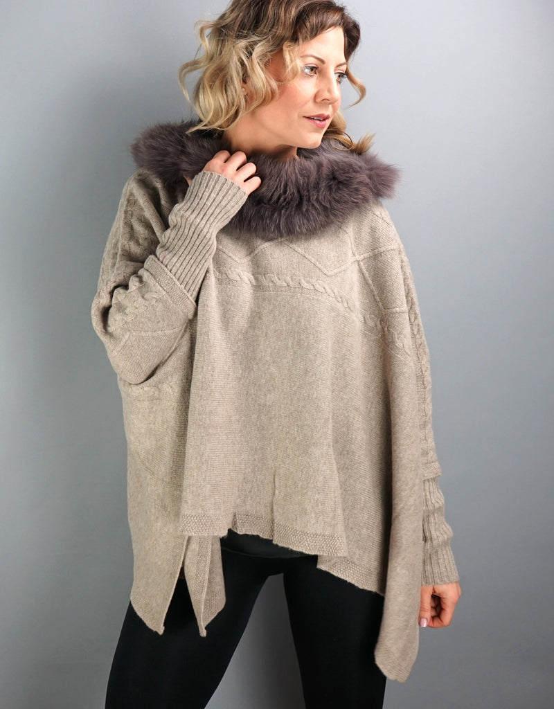 Cable Poncho/Sweater with Fox Collar- Oatmeal