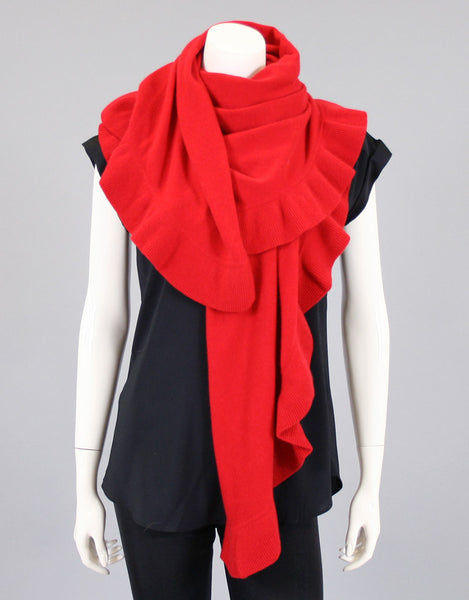 Beautiful Cashmere Ruffle Shawl- Cherry Red