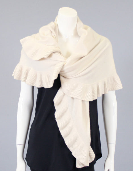 Beautiful Cashmere Ruffle Shawl-Cream