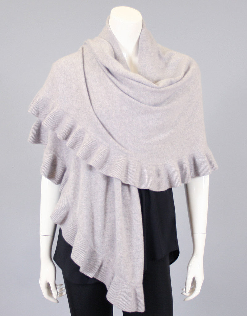 Beautiful Cashmere Ruffle Shawl-Oatmeal