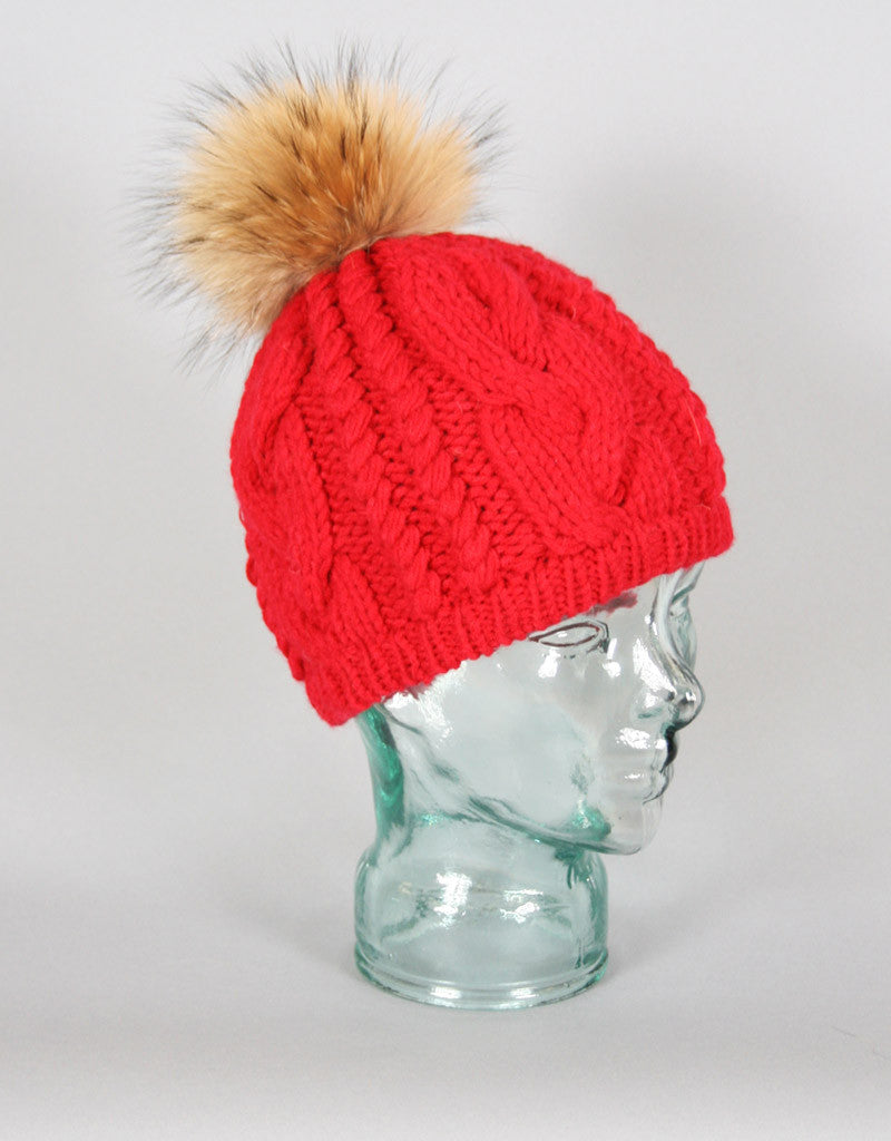 d4ec33ae265353 Cable Knit Tam-Red - Snowflake
