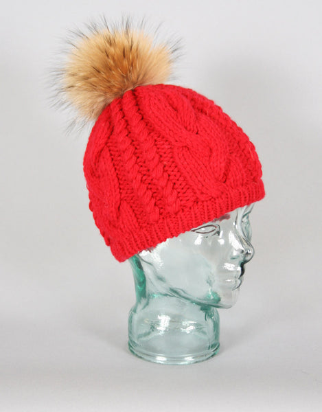 Cable Knit Tam-Red