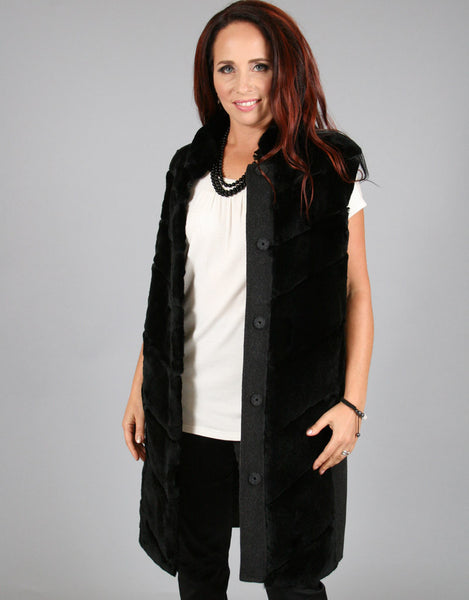 Fashion Fur Vest-Charcoal/ Black Rex