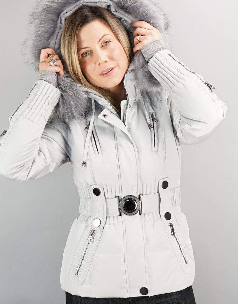 Belted Sporty Jacket- Silver