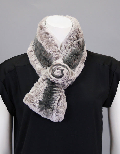 Stretch Rosette Scarf-Smoke
