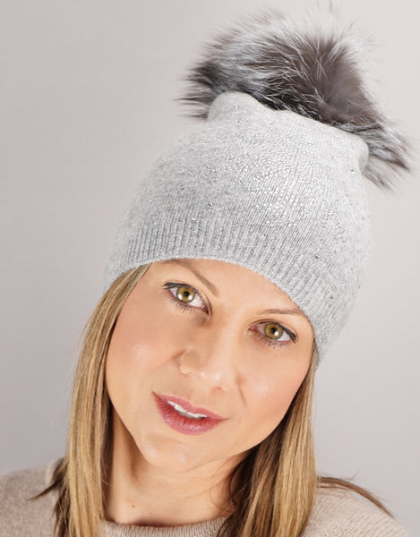Crystal Snowflake Hat- Grey