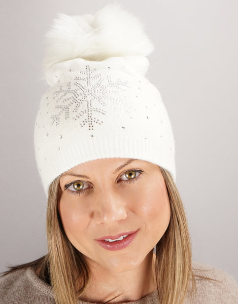 Crystal Snowflake Hat- White