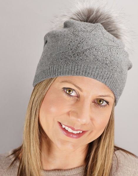 Sparkle Star Tucked Toque- Grey